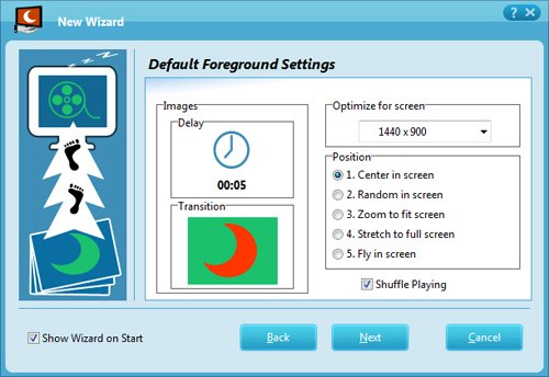 Make ScreenSaver easily with the New Wizard. Creating ScreenSaver cannot be easier...